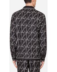 Dolce & Gabbana Silk Pajama Shirt With All-Over Dg Print - Schwarz
