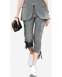 Dolce & Gabbana Micro-Patterned Wool Pants With Eyelet Details - Gris