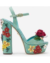 Dolce & Gabbana Wedge Sandals In Tropea Straw With Embroidery - Blue