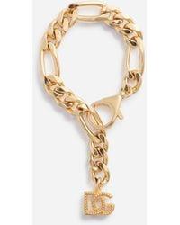 Dolce & Gabbana Chain Bracelet With Dg Logo Charms - Métallisé