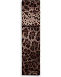Dolce & Gabbana Silk Leopard Print Scarf - Brown