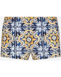 Dolce & Gabbana - Swimming Trunks With Maiolica Print On A Blue Background - Lyst