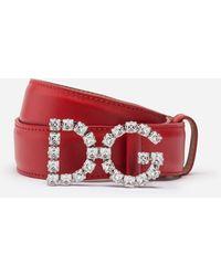 Dolce & Gabbana Ceinture En Cuir De Veau Et Boucle Logo Dg Avec Cristaux - Rouge