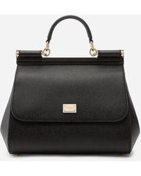 Dolce & Gabbana Mittelgrosse Tasche Sicily Aus Dauphine-Leder - Schwarz