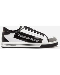 Dolce & Gabbana - Roma Sneakers In Coated Canvas And Calfskin - Lyst
