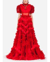 Dolce & Gabbana Silk Organza Dress - Red