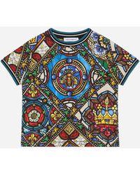 Dolce & Gabbana Jersey-T-Shirt Glasfenster-Print - Mehrfarbig