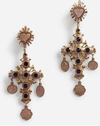 Dolce & Gabbana Crystal Cross Drop Earrings - Black
