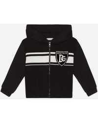 Dolce & Gabbana Hooded Cardigan In Stockinette Stitch Cotton With Patch - Noir