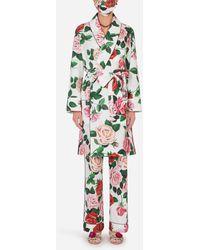 Dolce & Gabbana Completo Pigiama Con Mascherina Stampa Peonie - Multicolore