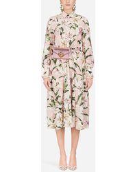 Dolce & Gabbana Jumpsuit Aus Crêpe De Chine Mit Lilien-Print - Mehrfarbig