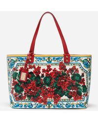 Lyst - Dolce   Gabbana Printed Beatrice Canvas Bag With Dg Family Patch 65911223744c4