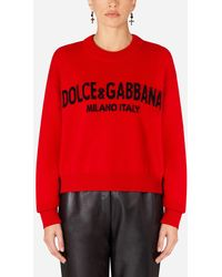 Dolce & Gabbana Cashmere Sweater With Logo Intarsia - Rojo
