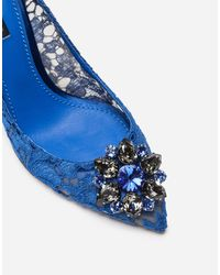 Dolce & Gabbana Bellucci Crystal-Embellished Lace Pumps - Blue