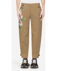 Dolce & Gabbana Stretch Cotton Pants With Orchid Print - Natural