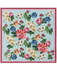 Dolce & Gabbana Twill Foulard With Floral Ombre Print 50 X 50cm- 19 X 19 Inches - Multicolour