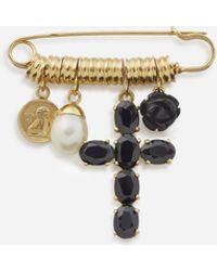 Dolce & Gabbana Spilla Devotion In Oro Giallo Con Zaffiri Neri, Giada Nera E Perla - Metallizzato