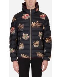 Dolce & Gabbana Padded Jacket With Hood In Printed Nylon - Black