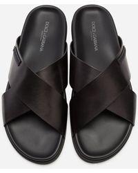 Dolce & Gabbana Calfskin Sandals - Black
