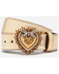 Dolce & Gabbana Devotion Belt In Laminated Calfskin - Mettallic