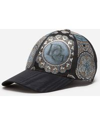 Dolce & Gabbana Jacquard Baseball Cap In Stained Glass Window Style Print - Black