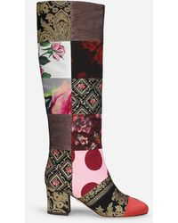 Dolce & Gabbana Patchwork Fabric Boots - Multicolour