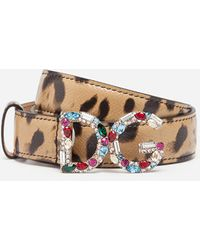 Dolce & Gabbana Leopard-print Dauphine Calfskin Belt With Rhinestone-detailed Dg Logo - Multicolor