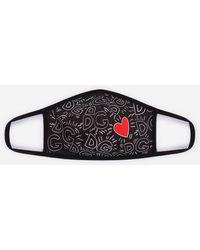 Dolce & Gabbana Neoprene Face Mask With Logo And Heart Print - Black