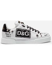 Dolce & Gabbana Sneakers Portofino En Cuir De Veau Avec Écusson Et Broderies - Blanc