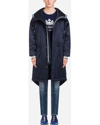 Dolce & Gabbana Satin Parka With Hood And Branded Plate - Blue