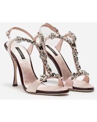 Dolce & Gabbana Sandale Gioiello Aus Satin Und Lackleder - Mehrfarbig