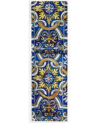 Dolce & Gabbana Bufanda De Seda Con Estampado De Mayólica Sobre Fondo Azul Oscuro