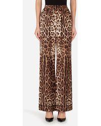Dolce & Gabbana Leopard-Print Satin Pajama Pants - Braun