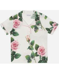 Dolce & Gabbana Piqué Polo Shirt With Tropical Rose Print - Green