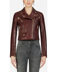 Dolce & Gabbana Leather Biker Jacket - Brown