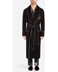 Dolce & Gabbana Cashmere Coat With Patch - Black