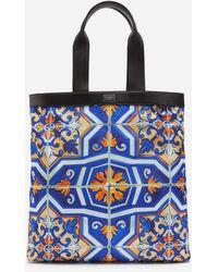 Dolce & Gabbana Nylon Sicilia Dna Shopper With Majolica Print - Blau