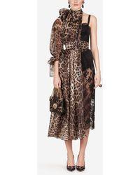 Dolce & Gabbana Long Asymmetric Organza Lace Dress - Brown