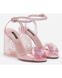 Dolce & Gabbana Cinderella Sandals With Sint Glass Heel - Pink