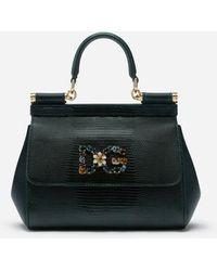 Dolce & Gabbana Medium Iguana Print Calfskin Sicily Bag With Crystal Dg Logo Patch - Verde
