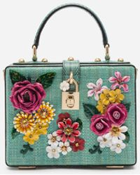 Dolce & Gabbana Dolce Box Bag In Tropea Straw With Embroidery - Multicolour
