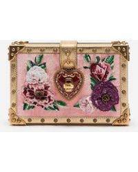 9a7cea1324cec9 Dolce   Gabbana - Velvet My Heart Clutch With Embroidered Patches - Lyst