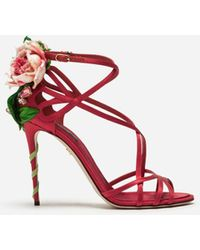 Dolce & Gabbana Keira Rose Jeweled Sandals - Red