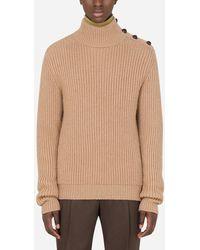 Dolce & Gabbana Turtle-Neck Sweater In Camel Wool - Neutro