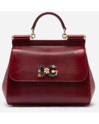 Dolce & Gabbana Medium Iguana Print Calfskin Sicily Bag With Crystal Dg Logo Patch - Rot