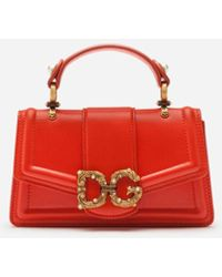 Dolce & Gabbana Dg Amore Phone Bag In Calfskin - Rosso