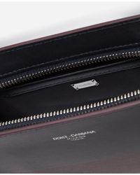 Dolce & Gabbana Kleine Pochette Monreale Aus Zweifarbigem Kalbsleder Mit Logo - Blau