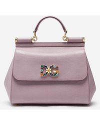 Dolce & Gabbana Medium Calfskin Sicily Bag With Iguana Print And Dg Crystal Logo Patch - Rosa