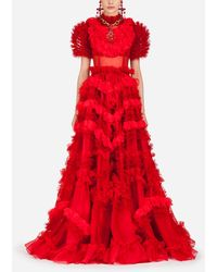 Dolce & Gabbana Kleid Aus Seidenorganza - Rot