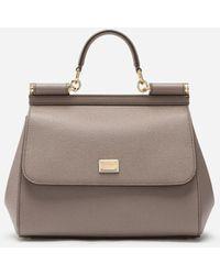 Dolce & Gabbana - Medium Sicily Handbag In Dauphine Leather - Lyst